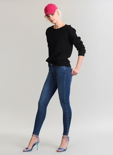 People By Fabrika Zımba Detaylı Skinny Jean Pantolon Mavi
